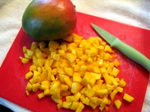 One large mango yields about 1.5 cups finely chopped mango